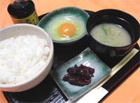 丹波地鶏の卵かけご飯(味噌汁・海苔)